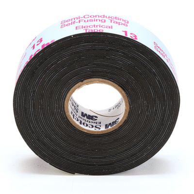 Scotch Electrical Semi-Conducting Tape 13, Printed, 3/4 in x 15 ft, Black, 50 rolls/case, BULK