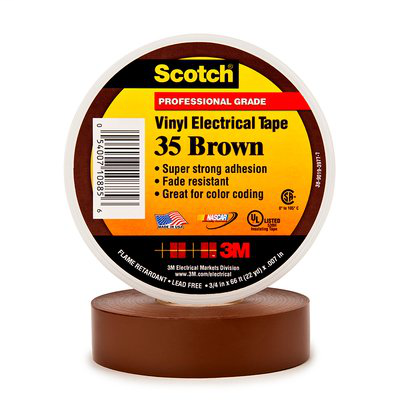 Scotch Vinyl Color Coding Electrical Tape 35, 1/2 in x 20 ft, Brown, 10 rolls/carton, 100 rolls/case