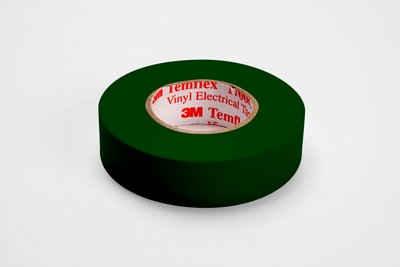 3M Temflex Vinyl Electrical Tape 1700C, 3/4 in x 66 ft, Green, 1.5 in core, 10 rolls/carton, 100 rolls/case