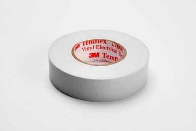 Mayer-3M Temflex Vinyl Electrical Tape 1700C, 3/4 in x 66 ft, White, 1.5 in core, 10 rolls/carton, 100 rolls/case-1