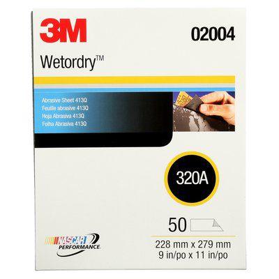 3M Wetordry Abrasive Sheet 413Q, 02004, 320 grade, 9 in x 11 in, 50 sheets per carton, 5 cartons per case