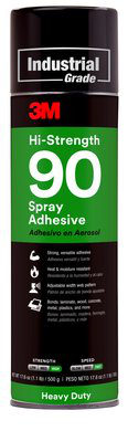 3M Hi-Strength 90 Spray Adhesive Clear, Net Wt 17.6 oz, 12 cans per case