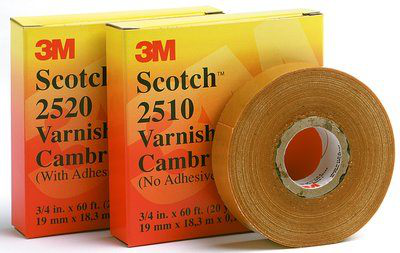 Scotch Varnished Cambric Tape 2520, 1-1/2 in x 36 yds, Yellow, 6 rolls/carton, 24 rolls/case