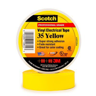 Scotch Vinyl Color Coding Electrical Tape 35, 3/4 in x 66 ft, Yellow, 10 rolls/carton, 100 rolls/case