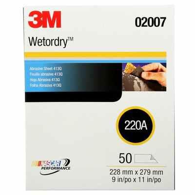 3M Wetordry Abrasive Sheet 413Q, 02007, 220 grade, 9 in x 11 in, 50 sheets per carton, 5 cartons per case