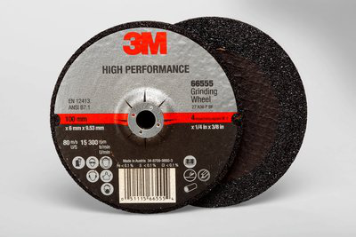 3M High Performance Depressed Center Grinding Wheel T27 66555, 4 in x 1/4 in x 3/8 in, 10 per inner, 20 per case