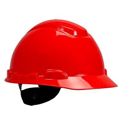 3M Industrial Safety H-705R 4-Point Ratchet Suspension Red Hard Hat