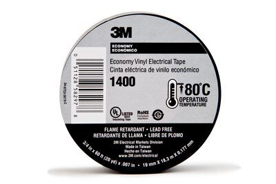 3M 1400-3/4x60FT Black Economy Tape