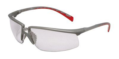 3M Industrial Safety 12265-00000-20 Silver/Red Frame Clear Anti-Fog Lens Protective Eyewear