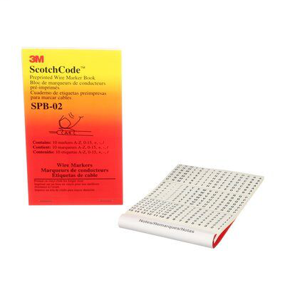 3M Electrical SPB-02 A to Z 0 to 15 + - / Legend Pre-Printed Wire Marker Book