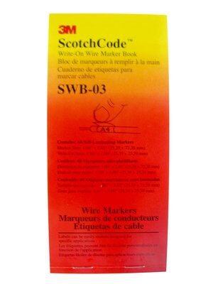 3M Electrical SWB-3 1 x 2.85 Inch Label Write-On Wire Marker Book