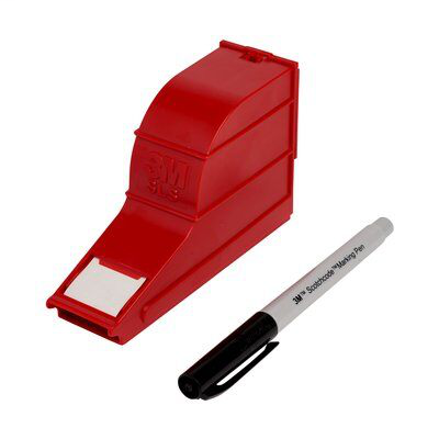 3M ScotchCode Wire Marker Write-On Dispenser with Tape and Pen SLS, 1.0 in x 2.125 in, 10/Case