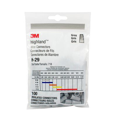 Mayer-3M Highland Wire Connector H-29-POUCH, 22-16 AWG, Gray, 100 per Pouch, 1000/Case-1