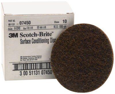 Scotch-Brite Surface Conditioning Disc 07450, 4 in x NH A CRS, 10 per box 4 boxes per case