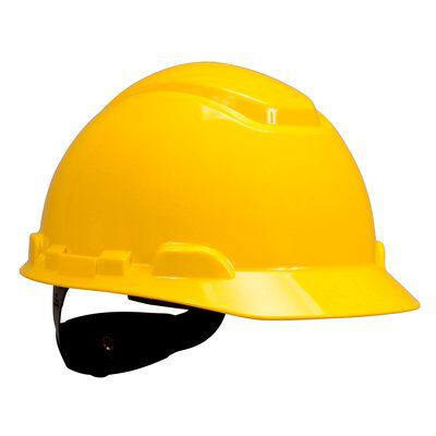 Mayer-3M Hard Hat with Uvicator H-702R-UV, Yellow, 4-Point Ratchet Suspension, 20 EA/Case-1