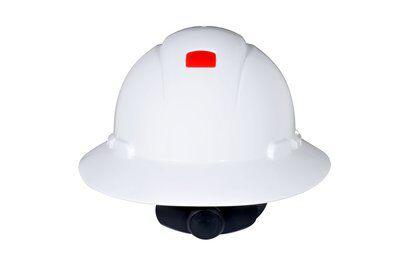 Mayer-3M Full Brim Hard Hat H-801R-UV, White 4-Point Ratchet Suspension, with Uvicator, 20 EA/Case-1
