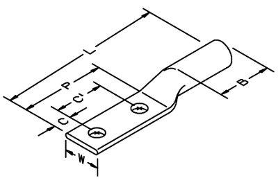 3M 31145 Copper 2-Hole Long Barrel Lug