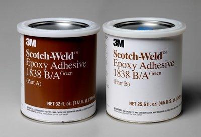 3M Scotch-Weld Epoxy Adhesive 1838 Tan Part B/A, 1 Quart Kit, 6 per case