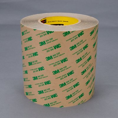 3M Adhesive Transfer Tape 468MP Clear, 12 in x 60 yd 5 mil, 4 rolls per case