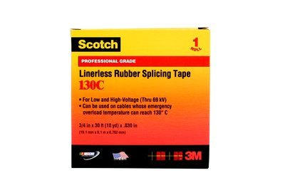 Scotch Linerless Rubber Splicing Tape 130C-3/4x30FT, 3/4 in x 30 ft (19 mm x 9,1 m), 24 per case