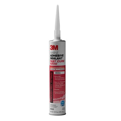 3M Marine Adhesive Sealant 5200 Fast Cure White, PN06520, 1/10 Gallon Cartridge, 12 per case