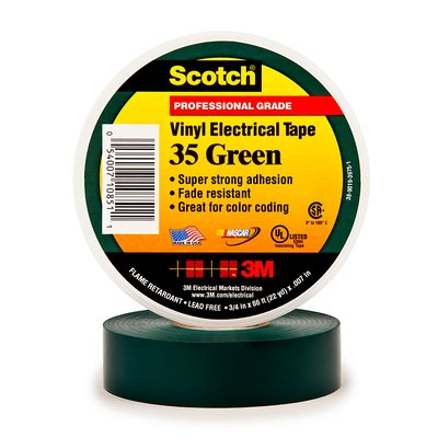 "3M 35 Green 3/4"" x 66' Vinyl Color Coding Tape"