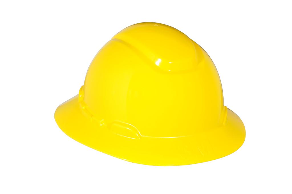 3M 3M™ Full Brim Hard Hat H-802R, Yellow 4-Point Ratchet Suspension, 20EA/Case