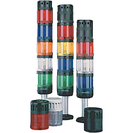 Control Tower Stack Light, Gray Housing, 24V AC/DC Full Voltage, Red Steady LED (socket mount)