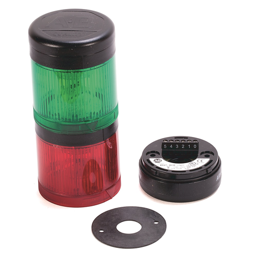 Pre-Assembled Ctl. Tower, Surface / 1/2 inch NPT Conduit Mount with Cap, Black Housing, 120V AC Full Voltage, Green Steady LED, Red Steady LED