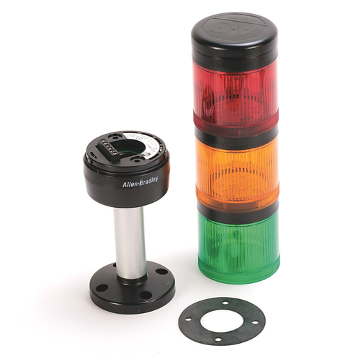 Pre-Assembled Ctl. Tower, 10cm Pole Mount with Cap, Black Housing, 24V AC/DC Full Voltage, Red Steady Incandescent