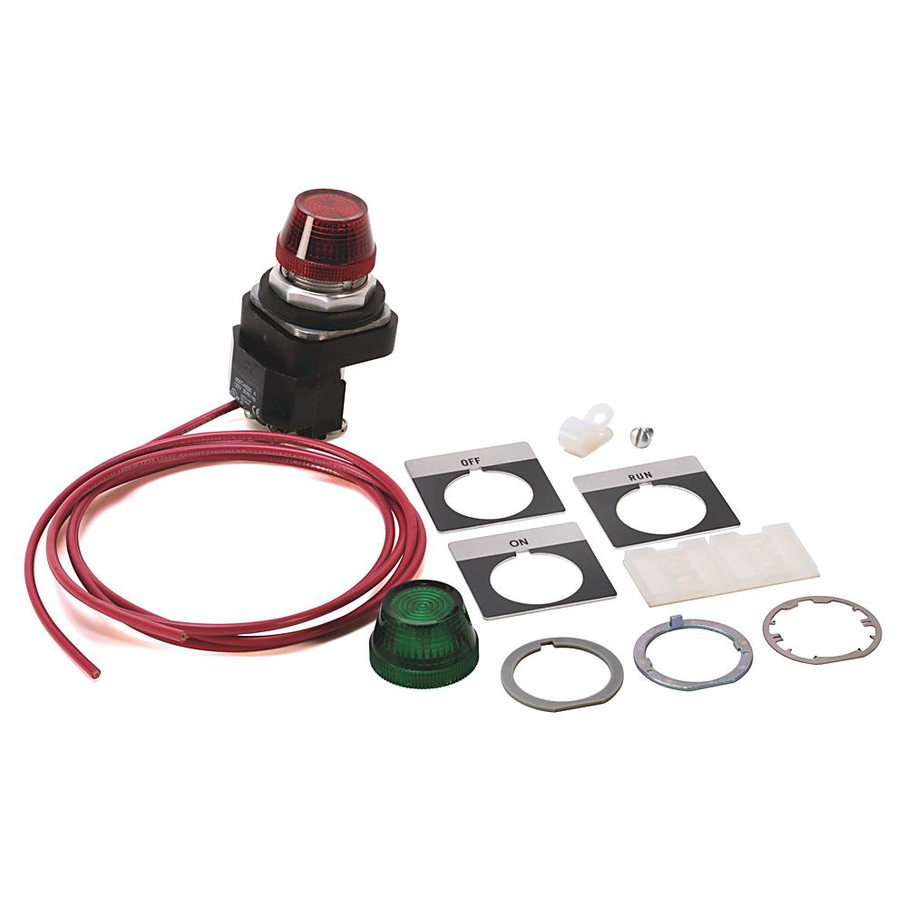 500 Accessories, Pilot Light, ON, NEMA Sizes 0..9, , 115-120V 60Hz