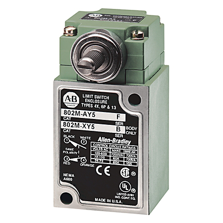 A-B 802M-NPY5 COMPLETE LIMIT SWITCH W/O LEVER 4 CIRCUIT NEUTRAL POSITION SPRING RETURN