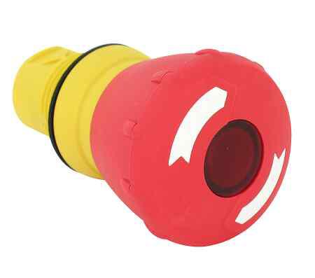 Allen-Bradley 800FM-LMP64 Red Metal 60 mm Push-Pull Illuminated Mushroom Operators