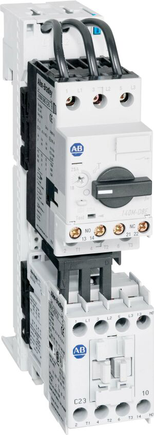 Allen-Bradley 103S-BTD2-CC10C IEC Combination Starter, 100-C12, 110V 50Hz / 120V 60Hz, 1 N.O. 0 N.C., 140M-C2E (C-Frame), High Break, Internal Auxiliary Contact 1 N.O. + 1 N.C., No Side Mount Aux. or Trip Contacts