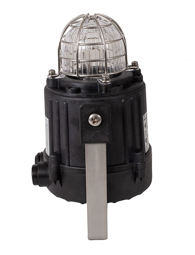 855XB Hazardous Location Beacon, Black, 1/2 Inch NPT/M20 Conduit Entrance, 120V AC 50/60Hz, Xenon, 10 J / 1 Hz, Clear