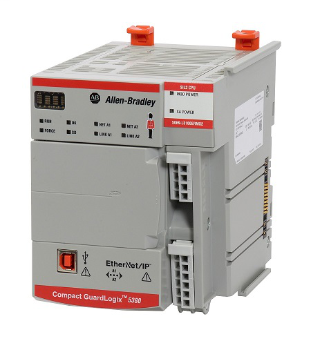Controller, Compact GuardLogix 5380 Safety SIL2/PLd, 2.0MB Standard & 1.0MB Safety Memory, 40 nodes, 16 I/Os, 8 axis