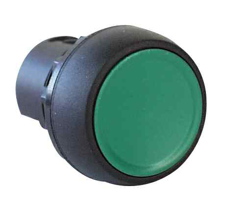 800F Push Button - Plastic, Flush, Green, I, Plastic Latch Mount, 1 N.O. Contact(s), 0 N.C. Contact(s), Standard, Standard Pack (Qty. 1)