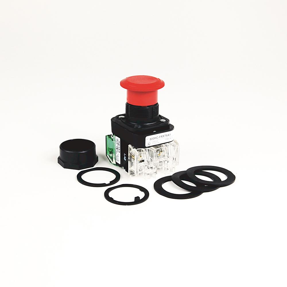Allen-Bradley 800HC-FRXTPH16RA1 Red Plastic 30.5 mm 2-Position Illuminated Push Button
