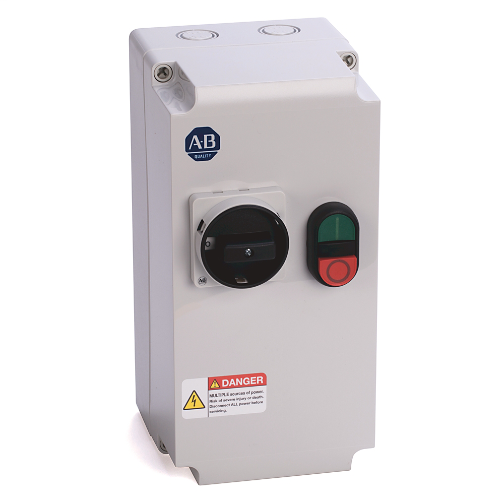 Allen-Bradley 103C-09LEJ-CC10X-1M Enclosed Starter, 6.3 - 10 A, 24V DC Electronic Coil Control Voltage, Start-Stop (Multi-Function Button)