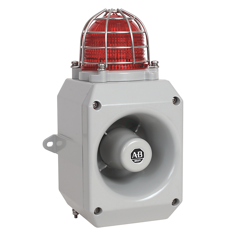 855XM Hazardous Location Metal Horn with Beacon, Gray Housing Color, M20x1.5mm Conduit Entry, 20-28V DC, 116dB Output, 5J Strobe, Red
