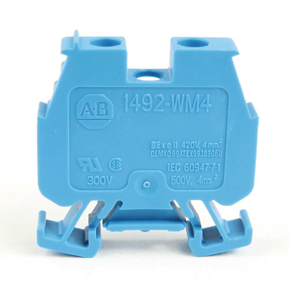 Allen-Bradley 1492-WM4-B IEC Blue One Circuit Miniature Feed-Through Terminal Block