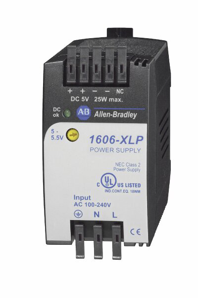 1606-XLP25A: Compact Power Supply, 5-5.5V DC, 25 W, 120/240V AC / 85-375V DC Input Voltage