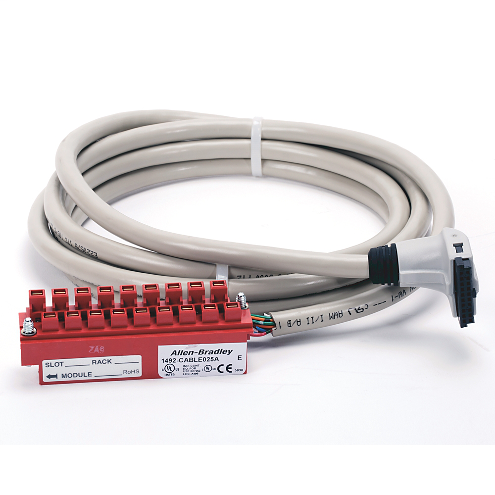 Allen-Bradley 1492-CABLE025P 2.5 m 300 Volt 22 AWG 20-Conductor Digital I/O Module Ready Cable