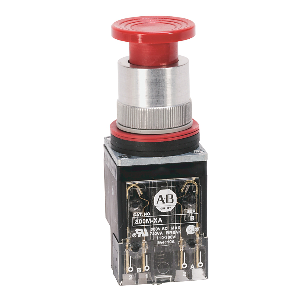 Allen-Bradley 800MR-D2D1 Black Non-Illuminated Mushroom Head Momentary Contact Push Button Units