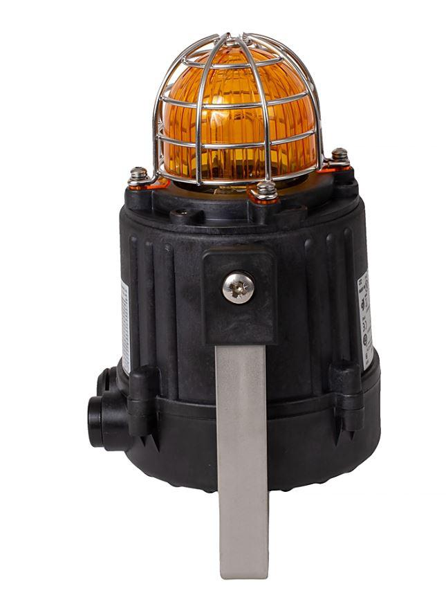 855XB Hazardous Location Beacon, Black, 1/2 Inch NPT/M20 Conduit Entrance, 120V AC 50/60Hz, Xenon, 10 J / 1 Hz, Amber