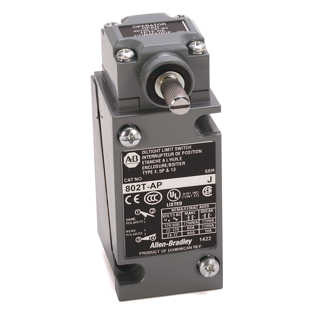 Limit Switch, NEMA Type 4 and 13 Oiltight Construction, Plug-In, Lever Type, Spring Return, High Operating Torque, 4-Circuit, CW and CCW operation, Head Only