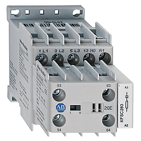 Allen-Bradley 100-K09B01 Miniature Contactor, Screw Type Terminals, 9 A, System Control Voltage: 440V 50Hz/480V 60Hz, 3 N.O. Main Contacts, 1 N.C. Auxiliary Contact, 1