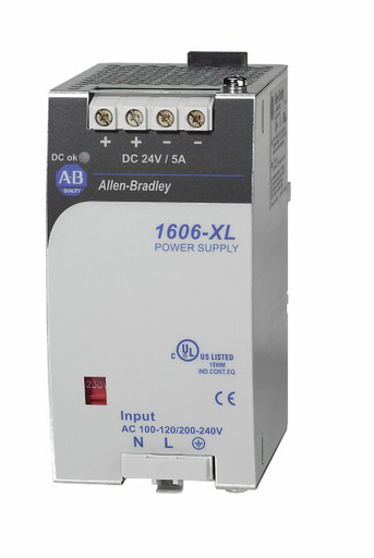 1606-XL120DR: Redundant Power Supply, 24V DC, 120 W, 120/230V AC / 210-375V DC Input Voltage