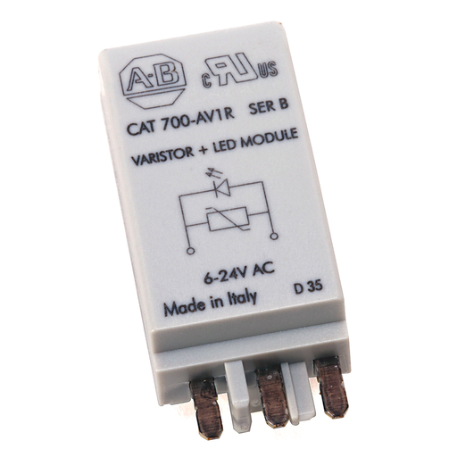 700-H General Purpose Accessories, Diode with LED Surge Suppressor, 6...24V DC (Pkg. Qty. 10), 700-ADL1R *For use with 700-HB, -HA, -HP.