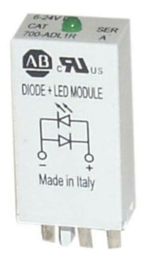 700-H General Purpose Accessories, Diode with LED Surge Suppressor, 6...24V DC (Pkg. Qty. 10), 700-ADL1 *For use with 700-HC .